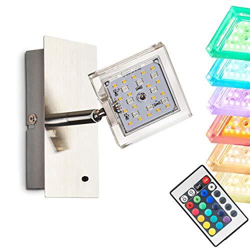 LED Wandlampe Parnu, Wandleuchte aus Metall in Nickel-matt, 1-flammig mit verstellbarem Leuchtenkopf, 1 x 4 Watt, 320 Lumen, Lichtfarbe 3000 Kelvin, mit Farbwechsler u. Fernbedienung -