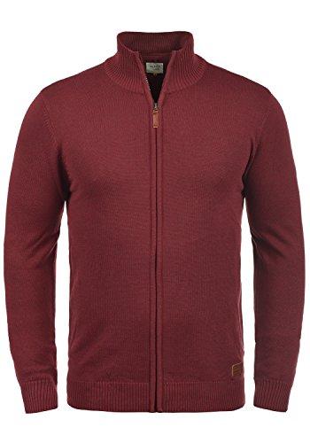 Blend Norman Herren Strickjacke Cardigan Feinstrick Mit Stehkragen und Reißverschluss, Größe:M, Farbe:Andorra Red (73811) -