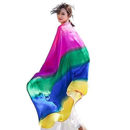 Cebilevin Damen Strandschals Frauen Sommer Lange Wraps Bikini Cover up Pareos & Strandkleider in Regenbogenfarbe -