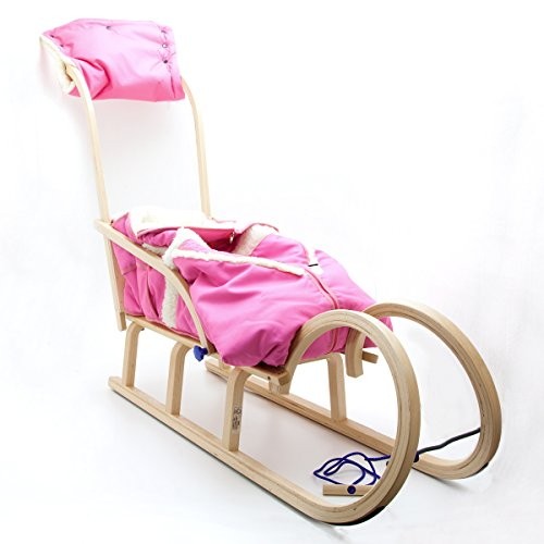 HolzFee Colint Baran 110 SL Alaska Rosa Pink Hörnerrodel Baby Schlitten Schiebelehne Winter Fußsack Handwärmer