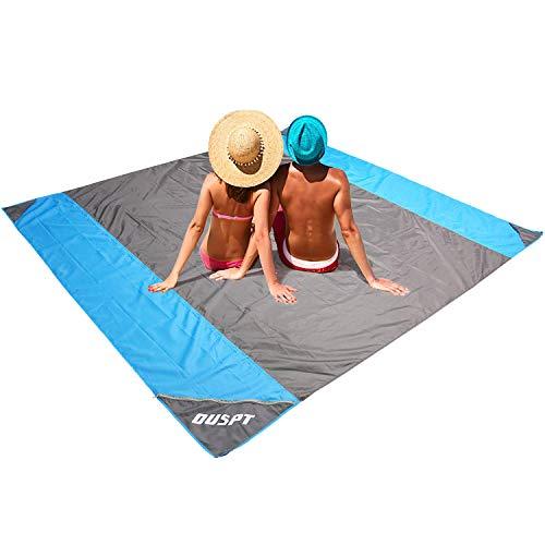 OUSPT Picknickdecke,Stranddecke Campingdecke Strandtuch 210 x 200 cm, Picknickdecke Campingdecke Strandtuch, 4 Befestigung Ecken, Ultraleicht kompakt Wasserdicht und sandabweisend (Grau)