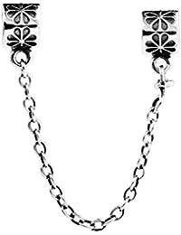 TAOTAOHAS puro plata de ley 925/1000 cadena enlace de seguridad charm Abalorios perla Abalorios perla [ afición, Antique ] Coloque la pulsera europea