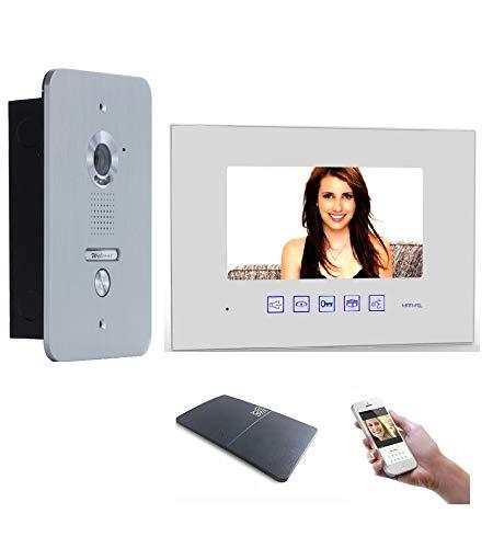 4 Draht Türsprechanlage Gegensprechanlage Video Bildspeicher mit 7\'\' LCD Monitor WLAN Schnittstelle (Weiß)