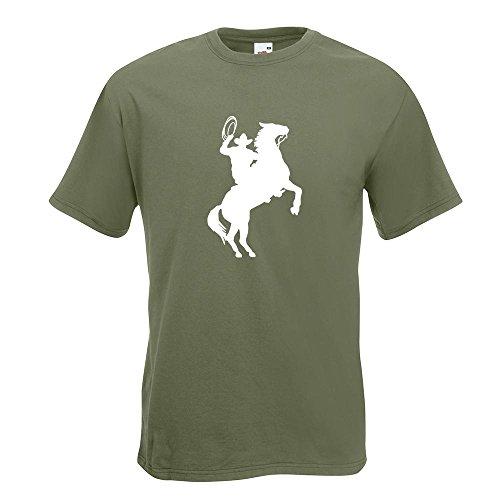 KIWISTAR - Cowboy mit Pferd Lasso T-Shirt in 15 verschiedenen Farben - Herren Funshirt bedruckt Design Sprüche Spruch Motive Oberteil Baumwolle Print Größe S M L XL XXL Olive
