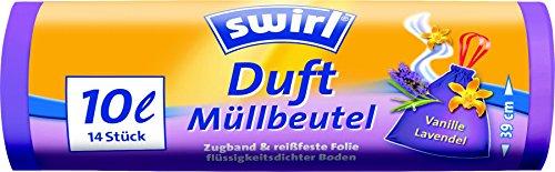 Swirl Duft-Müllbeutel Vanille-Lavendel mit Zugband, 10 Liter, 4 Rollen mit je 14 Beuteln