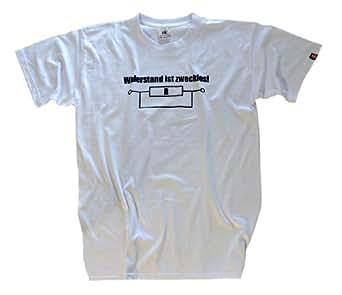 Shirtzshop Erwachsene T-Shirt Original Elektriker Widerstand ist Zwecklos, Weiß, S, ss-shop-sv_elekwide-t-Weiss