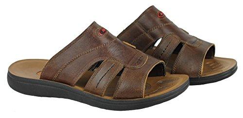 Pour Homme En Cuir Véritable Large pieds antidérapant sur Marche Plage Sandales Tongs en noir et marron Marron