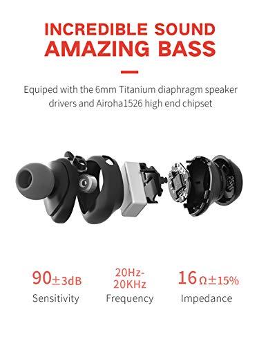 HAVIT TWS Bluetooth Kopfhörer Kabellose in Ear V5.0, True Wirelss Stereo Sport Ohrhörer, IPX5 Wasserdicht, 18 Stunden Abspielzeit, Eingebautes Mikrofon für iPhone,Samsung und Huawei, HTC,G1 Schwarz - 2