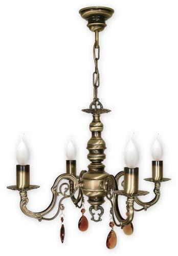 Antares - Lámpara de araña (acero y zinc, 4 focos)