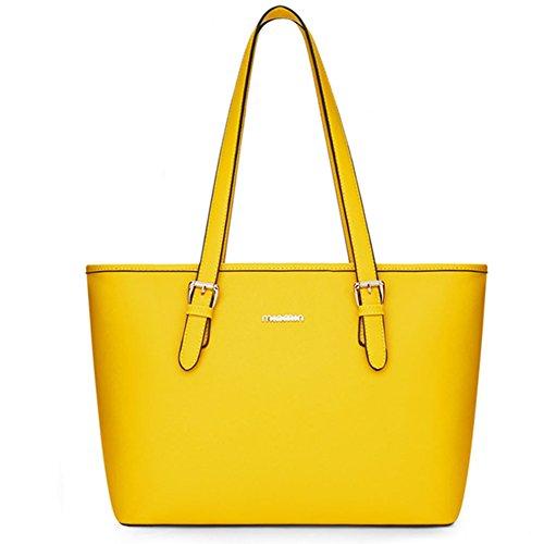 fanhappygo Fashion Retro Leder Damen shopper bag Schulterbeutel Umhängetaschen Tote Taschen Abendtaschen gelb