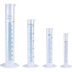 4 Pièces 10 ml 25 ml 50 ml 100 ml Plastique Graduée Éprouvette Liquide de Mesure Outils Pour La Chimie Cuisine (Transparent)