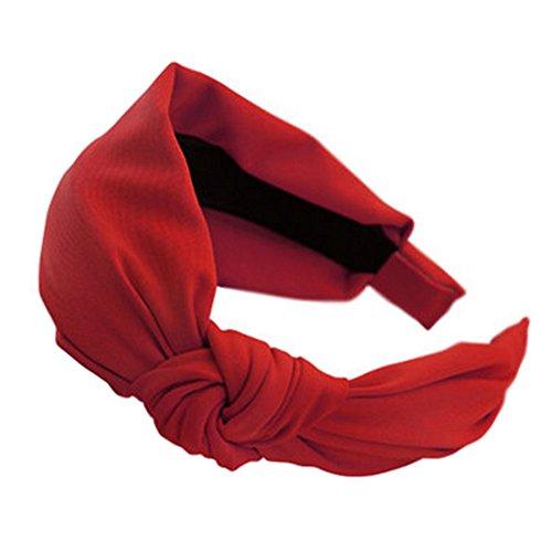 Frauen Komfortable weiche Tuch-Stirnband Haarband Haarreif Haarschmuck, Rot