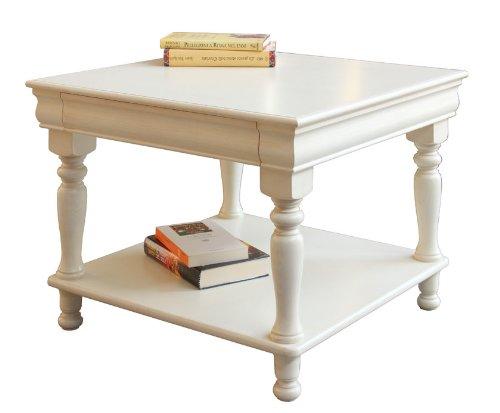 Arteferretto Table Basse de Salon carrée 64x64 cm laquée, Style Louis Philippe, avec tiroir et étagère inférieure, Blanc ou Ivoire, Bout de canapé