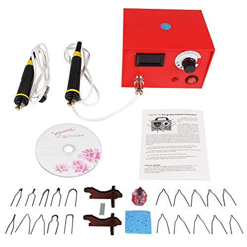 JIAN YA NA 220 V 50 Watt Multifunktions Pyrography Maschine digitale display Kürbis Holz Handwerk Werkzeug für Holz und Leder Handwerk Tool Kit Set Pen Brandmalerei Maschine (50W Digitaler Bildschirm)