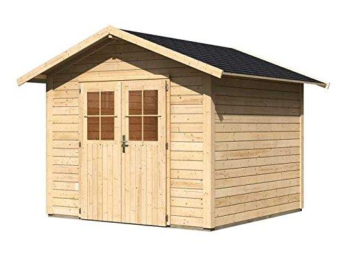 Karibu Gartenhaus Linau 6 natur 28 mm inkl. Schindeln schwarz Außenmaß (B x T): 274 x 274 cm...
