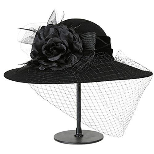 TOBEEY Frauen Fascinators Elegante Mesh Floral Feather Fedoras Lady Tea Party Headwear Pillbox Hut mit Schleier Kopfbügel (Diy Womens Halloween-kostüme Für Arbeit)