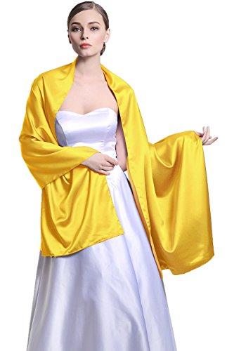 Für Frauen Hochzeit Braut Abend Seiden Satin Doppel Seitige Von BEAUTELICATE Gold (Gelb Und Lila Hochzeit)