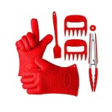 Kit per BBQ in silicone Set di 5 Guanti da…