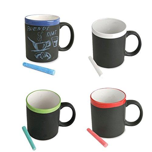 Lote de 8 tazas pizarra surtidas en 4 colores diferentes. Incluye tiza