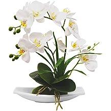 True Holiday Flores Artificiales de orquídea con jarrón de Porcelana Blanca, decoración de Centro de