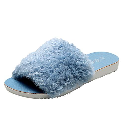 Damen Hausschuhe Zehen öffnen Warme Plüsch Schuhe Damenmode Filzpantoffeln Winterhausschuhe Indoor & Outdoor Gästeschlappen Baumwolle Pantoffeln,Blau,39 EU