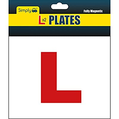 Simply TL1000 Pack of 2, Fully Magnetic Car L-Plates, Well Packaged Twin Pack for Learning Drivers, Easy to Attach & Remove, Strong Magnetic Backs for Vehicles, High Quality Colorful Header Card