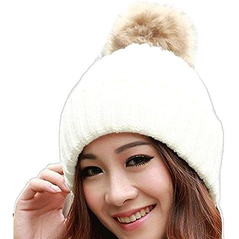 POTOBrand, las mujeres invierno piel bola gorro sombrero de punto lana (Blanco)