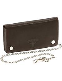 Biker et Trucker portefeuille avec la chaîne pour homme et femme tête de buffle en relief BIKER, cuir véritable, marron/brun