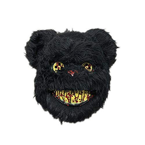 Evil Joker Kostüm - OYWNF Funny Scary Rabbit Gesichtsmaske Horror Halloween Cosplay Party Maskerade Tier Kostüm Masken (Color : Black Bear)