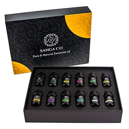 Sanga Co Aromatherapie-Öle, natürlich, therapeutische Stressabbau, fördert Entspannung, Klarheit, Schlaf, Pfefferminze, Zitrone, Teebaum, Lavendel, Zeder -