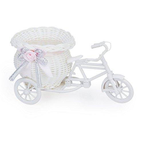 Handmade Rattan Blumen Dreirad Fahrradkorb Körbe für Blumenvase Lagerung Dekoration (weiß Rosa)