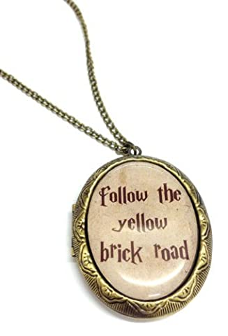 Follow the Yellow Brick Road Cameo Locket Necklace - Gift Boxed - Wizard of Oz