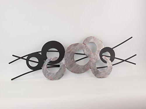 T&D Wanddeko aus Metall Metallbild Kreise Bola schwarz rot silber antik 85 x 30 cm - Gilde Handwerk...
