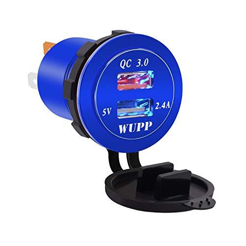 Preisvergleich Produktbild Junjiagao Dual USB Car Charger QC3.0 Schnellladegerät 30 Watt Aluminiumlegierung wasserdicht USB Port Ladegerät für Telefon GPS (Color : Blue,  Style : Blue Light)