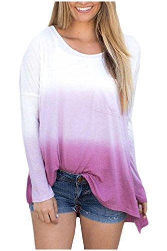 Beaii Femme Couleur Gradient T-Shirt Col Rond Manche Longue Tops Blouse Tunique Violet