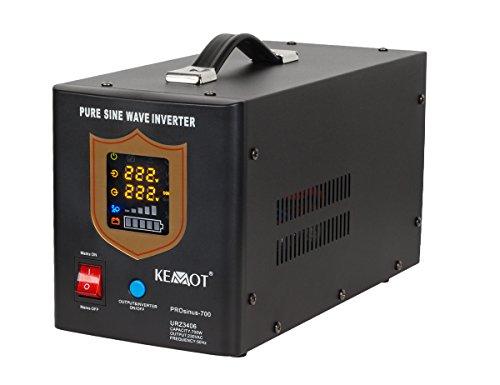 Notstromversorgung KEMOT PROsinus-700 URZ3406B Wechselrichter reiner Sinus Ladefunktion 12V 230V 1000VA/700W, schwarz (700w-wechselrichter)