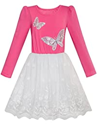 Sunny Fashion Girls Dress Turquoise Long Sleeve Lace 2-In-1 Princess Tutu Age 5-12 Years