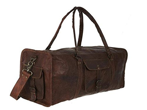 """True Grit Leather- """"Outsider"""" Vintage Brown Mens Leather Travel Duffel Overnight Bag Luggage Suitcase (24 Inch)"""