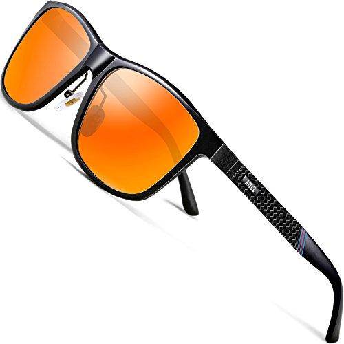 ATTCL Herren Polarisierte Fahren Sonnenbrille Al-Mg Metall Rahme Ultra Leicht 858-8 Red