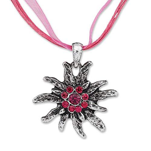 Edelweiss Trachten Trachtenkette Trachten Edelweiss mit Strass Organzaband Trachten Kette Schmuck in vielen Farben - perfekt für Trachtenbluse, Dirndl oder Lederhose (Pink)