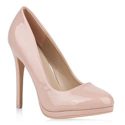 Damen High Heels Pumps Lack Schuhe Partyschuhe Stilettos 152893 Nude Lack 40 Flandell