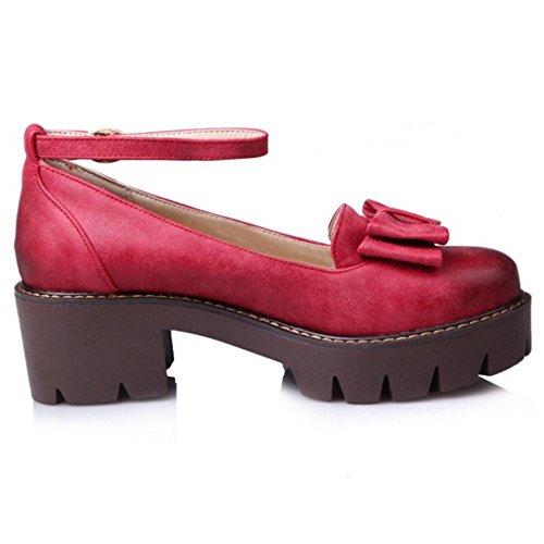 TAOFFEN Femmes Mode Talons Chunky Escarpins Chaussures red