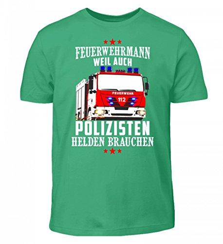Shirtee Hochwertiges Kinder T-Shirt - Feuerwehr Shirt · Geschenkidee für Feuerwehrmänner/Frauen · Aufdruck Motiv/Spruch · Verschiedene Farben Pacific Green