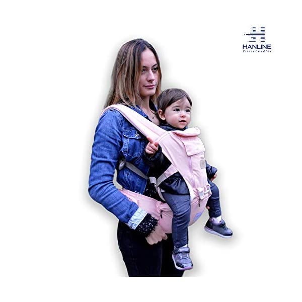 HANLINE LITTLECUDDLES 3-in-1 Ergonomic Baby Carrier Backpack [4 Colours: Turquoise-Blue-Grey] - High Quality/Breathable/Easily Adjustable Fabric - for 0-3 Years Navy Blue (Pink) Hanline LittleCuddles 👶 WE ONLY USE HIGH QUALITY MATERIALS: Hanline LittleCuddles is committed to selecting high quality fabrics to make the use of our baby bags more comfortable and safe. The light cotton combined with the soft padded material which is pleasant to the touch increase the comfort of the newborn and parents. On summer days, you can open the front zip which facilitates the passage of air inside the fabric, thanks to the soft breathable mesh fabric. 📃 CERTIFIED AND TESTED SAFETY: The Hanline baby carrier features a soft HIP seat which makes your baby's position ergonomic and safety. In addition, there are various soft fabric parts that eliminate pressure on the baby's body and the wearer. 🔝 3 PRODUCTS IN 1: The ergonomic 3 in 1 baby carrier can be worn in different positions that best adapt to the different stages of growing baby. 1