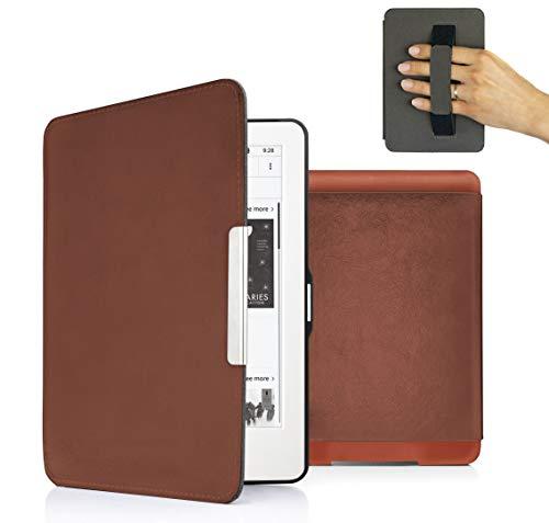 MyGadget PU Leder Hülle für Amazon Kindle Paperwhite (bis 2017) Handschlaufe & Auto Schlaf/Wach Funktion Magnetische Kunstleder Flip Case - Braun