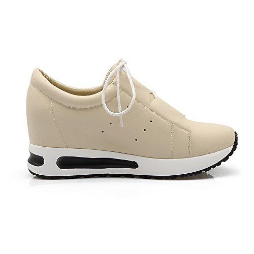 AllhqFashion Damen Rein Weiches Material Mittler Absatz Schnüren Rund Zehe Pumps Schuhe Cremefarben