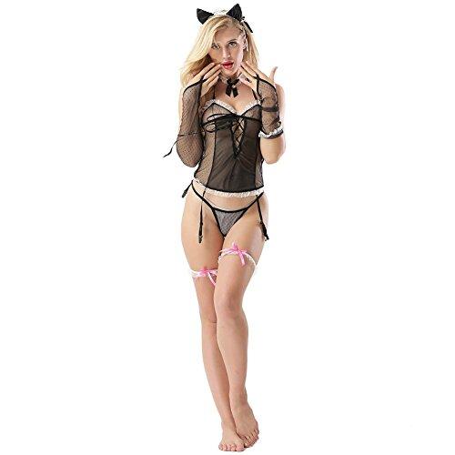 SASA Damen Reizwäsche Dessous Babydoll Nachtwäsche Perspektive Spitze Katze Mädchen Uniformen Set