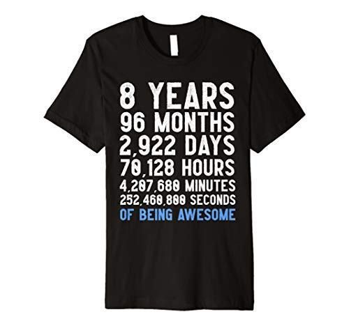 8th Birthday Countdown T Shirt Funny Gift For 8 Year Old Boy