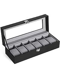 SONGMICS Uhrenbox 6 Uhren, Uhrenkasten mit Glasdeckel, Uhrenkissen aus Samt, Uhrenkoffer mit Schloss, 30 x 11,2 x 8 cm, Schwarz JWB06BK