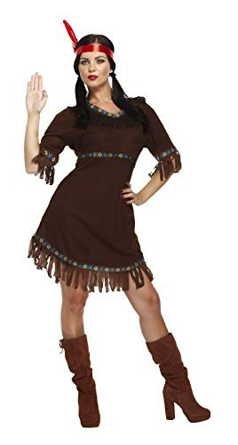 Frau Kostüm Indianer - Henbrandt Damen Indianer Squaw Damen-Kostüm, Brown, one size